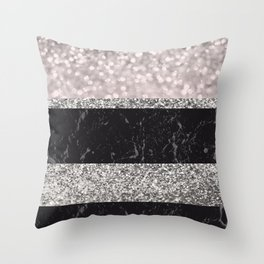 Gray Black Marble Glitter Stripes Glam #1 #shiny #decor #art #society6 Throw Pillow