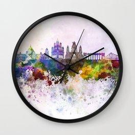 Kolkata skyline in watercolor background Wall Clock