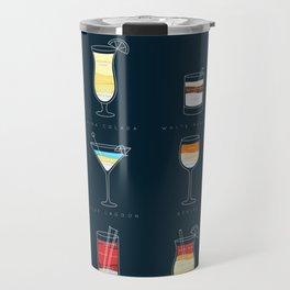 Cocktails flat dark blue Travel Mug