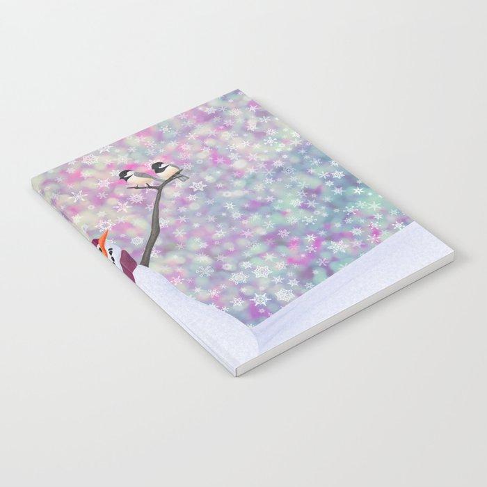 snowman and chickadees Notebook