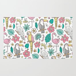 Tropical Jungle Birds Toucan Flamingo and Hibiscus Floral Flowers Leaves Paradise Rug
