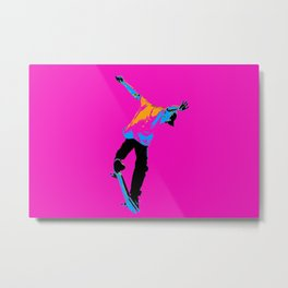 """Flipping the Deck"" Skateboarding Stunt Metal Print"