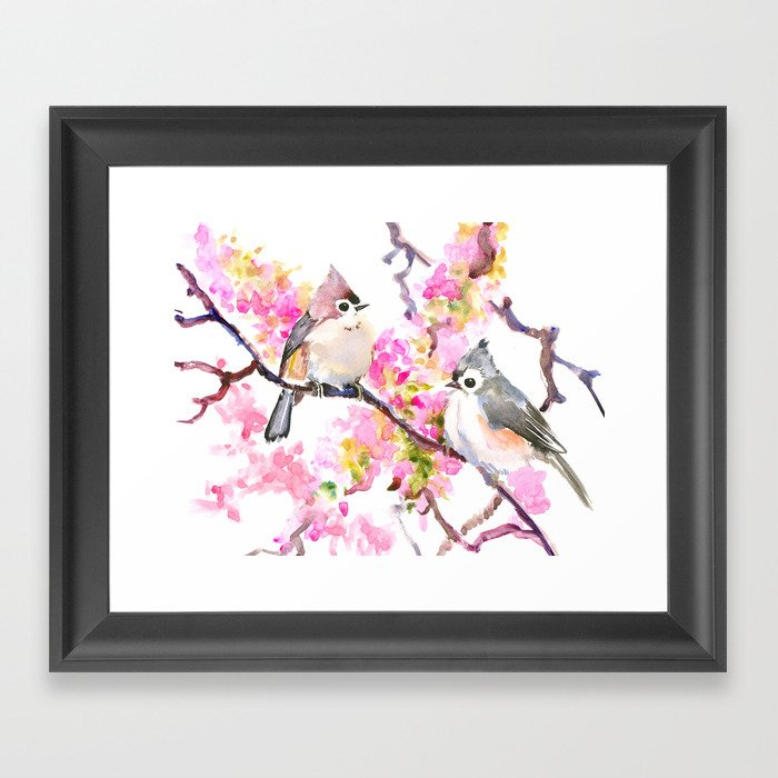 Titmice And Cherry Blossom Spring Bird Cottage Style Pink Gray Design Framed Art Print By Sureart Society6