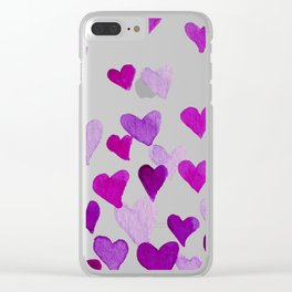 Valentine's Day Watercolor Hearts - purple Clear iPhone Case