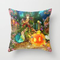 cinderella Throw Pillows featuring Cinderella by Aimee Stewart