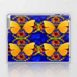Luminous Golden Butterflies Patterned Blue Art Laptop & iPad Skin