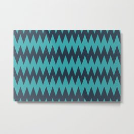 Aqua Teal Turquoise and Navy Blue Solid Color Zigzag Pointed Rippled Chevron Horizontal Line Pattern - Aquarium SW 6767 Metal Print