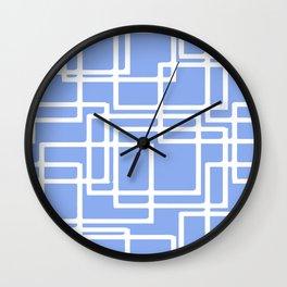 Retro Modern Rectangles On Summer Sky Blue Wall Clock