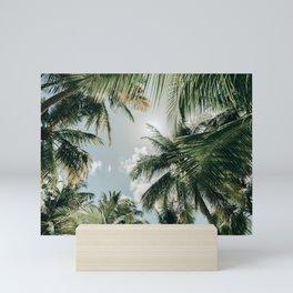 Tropical vibes - Palmtrees from below, Saona Island, Dominican Republic (Caribbean)   Nature Travel Photography Mini Art Print