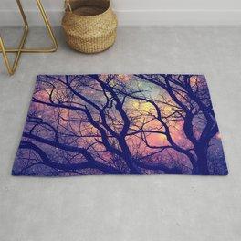 Black Trees Deep Pastels Space Rug
