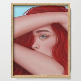 Red hairs Serving Tray