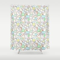 a lot of cats Shower Curtains featuring Doodle Cats by KiraKiraDoodles