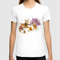 Critters: Fall Camping Womens Fitted Tee White SMALL