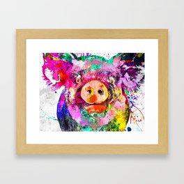 Pig Watercolor Grunge Framed Art Print