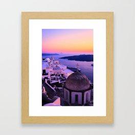 Gorgeous sunset in Santorini Framed Art Print