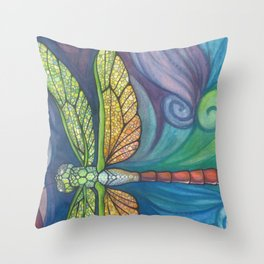 Groovy Dragonfly Spirit Throw Pillow