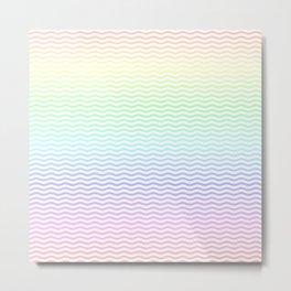 Pastel Rainbow Ombre Chevron Stripe Metal Print