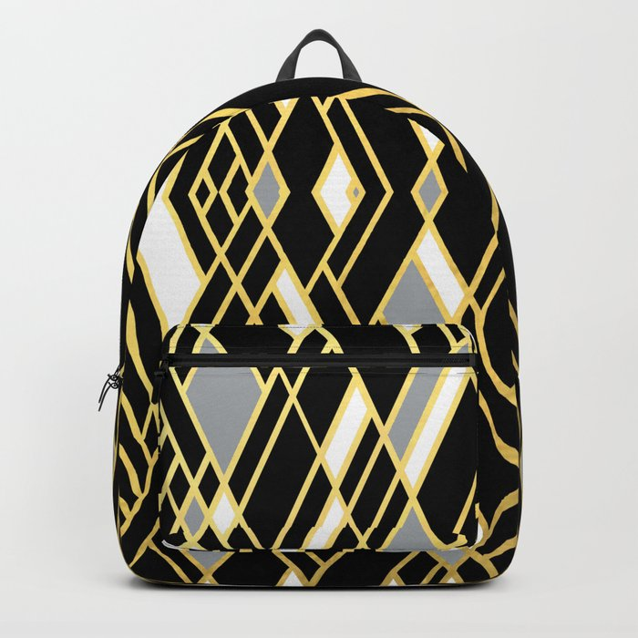 Art Deco Grey Gold Backpack