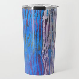Modern Faux Bois Woodgrain Pattern in Blue Travel Mug