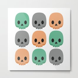 Orange, green and grey skulls Metal Print