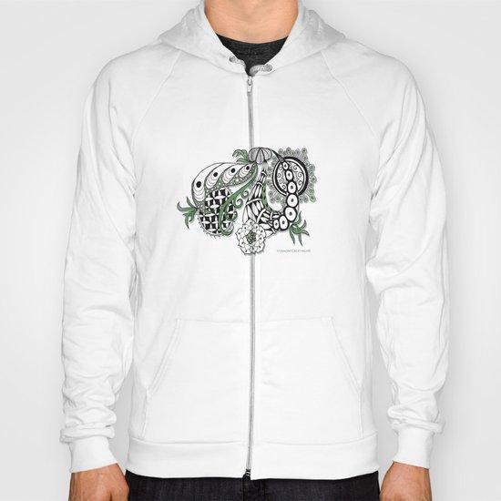 Zentangle Design - Black, White and Sage Illustration Hoody
