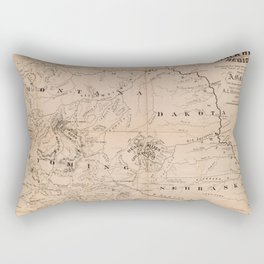 Vintage Map Print - Map of the Black Hills, South Dakota (1877) Rectangular Pillow