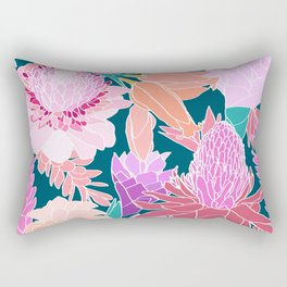 Ginger Flower in Dark Teal Green Rectangular Pillow