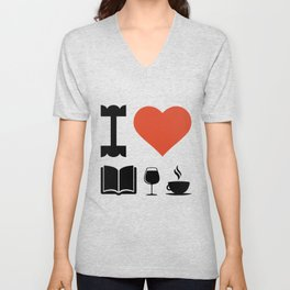 Funny Coffee Books and Wine Lover Novelty print Unisex V-Neck