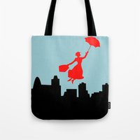 mary poppins Tote Bags featuring Mary Poppins  by Sammycrafts