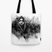 2pac Tote Bags featuring 2Pac Illustration by Skillmatik by Mr Skillmatik