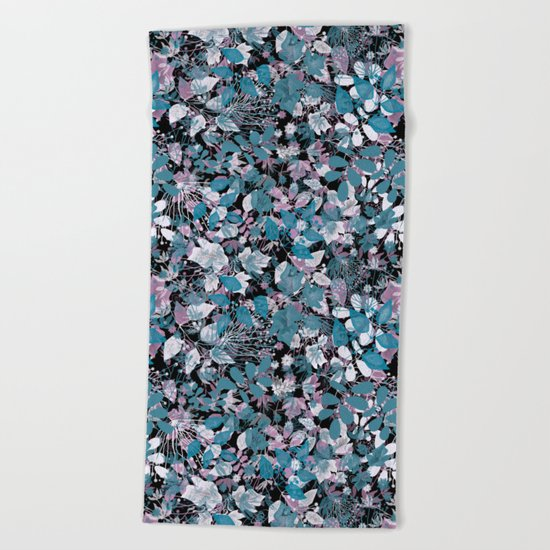 Openwork blue and purple leaves on a black background . Beach Towel