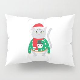 The isolated cute cat wearing a silly winter sweater with a snowman and New Year's cap Pillow Sham