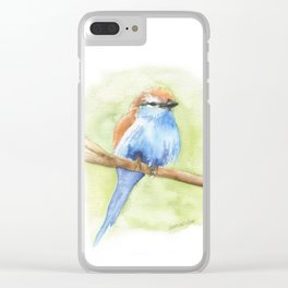 Racket-tailed Roller Watercolor Bird Clear iPhone Case