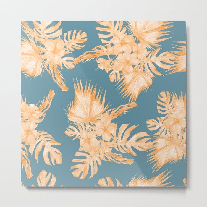 Hawaiian Hibiscus Palm Orange Teal Blue Metal Print