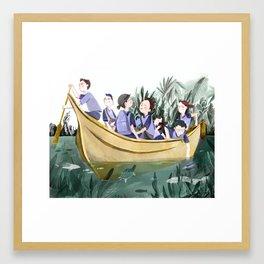 Yellow School Boat Framed Art Print