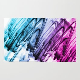 Cyan and Cerise Abstract Wavy Lines Rug