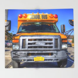 American School Bus Throw Blanket