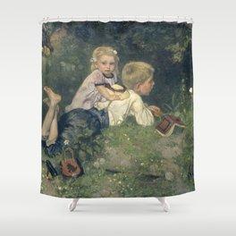 The Butterflies - August Allebé (1871) Shower Curtain