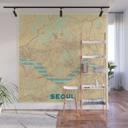 Seoul Map Retro Wall Mural