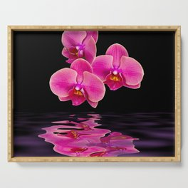 Mystical Pink Orchids Reflections Serving Tray