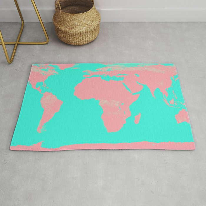 Undistorted World Map Pink Aqua Rug by vintageby2sweet