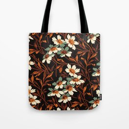 White gothic flowers Tote Bag