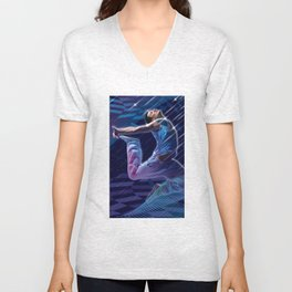 Dancer in Blue Unisex V-Neck