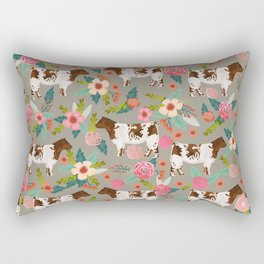 Shorthorn cattle breed farm homestead cows shorthorn cow floral Rectangular Pillow