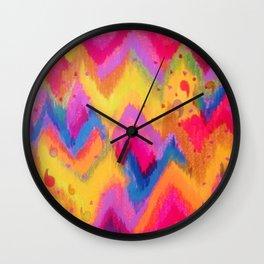 BOLD QUOTATION - Bright Vibrant Neon Quote Chevron Pattern Ikat Rainbow Trendy Design Fun Art Wall Clock