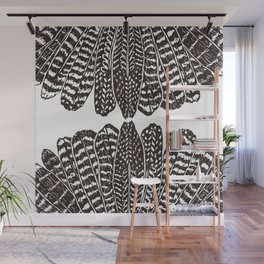TRIBAL FEATHERS - BLACK Wall Mural