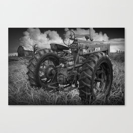 Abandoned Old Farmall Tractor in Black and White Canvas Print
