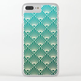 Teal golden Art Deco pattern Clear iPhone Case
