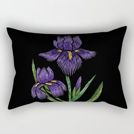 Embroidered Flowers on Black 09 Rectangular Pillow
