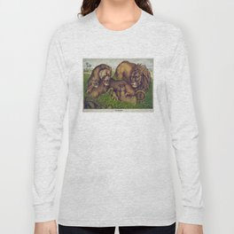 Vintage Illustration of a Lion Family (1874) Long Sleeve T-shirt